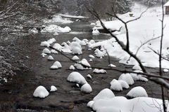 Small water stream, river covered with snow Royalty Free Stock Image