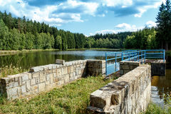 Small water water reservoir. With blue sky Stock Images