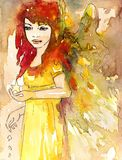 Small watercolor angel Stock Image