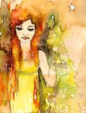 Small watercolor angel Stock Photo