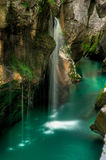 Small waterfal in Soca river valey Stock Image