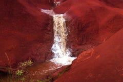 A small waterfall. At an hawaiin desert royalty free stock images