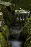 Small waterfall. Small mossy waterfall in a temple garden stock photo