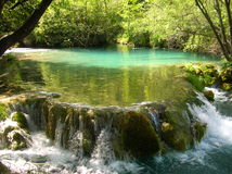 Small waterfall. On Piltvice lakes in Croatia Royalty Free Stock Photography