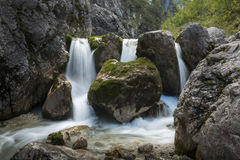 Small waterfall in the Bavarian alps, Germany Stock Photo