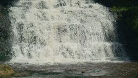 Small Waterfall Cascading over Rocks in Tropical Forest. Slow motion stock video footage