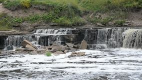 Small waterfall at cloud day. stock video footage