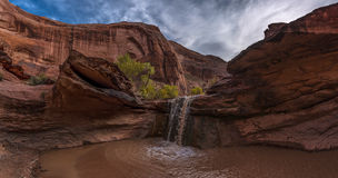 Small Waterfall in Coyote Gulch Grand Staircase Escalante Nation Stock Photography