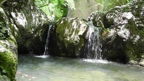 Small waterfall in Crimea. Mountains stock video footage