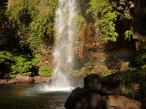 Small waterfall flowing of a basalt rock in a deep forest Royalty Free Stock Photos