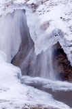 Small Waterfall Flowing Under Ice. Ice and snow with waterfall flowing from under ice overhang Stock Photography