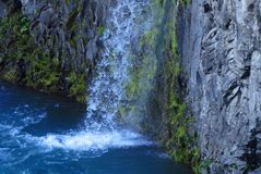 Small waterfall. Flows into the ocean somewhere in the North of Iceland stock photos