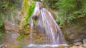 A small waterfall in the forest stock footage