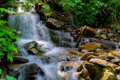 Small waterfall in forest. Lovely summer nature scenery. fresh and clean environment Stock Photo