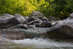 Small waterfall forest spring Stock Image