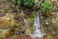 Small Waterfall in Goshen Pass. Small wet weather mountain waterfall located in Goshen Pass located in Jefferson National Forest in Rockbridge County, Virginia Royalty Free Stock Image