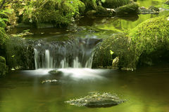 Small waterfall and green reflections in Hebron, Connecticut. Royalty Free Stock Image
