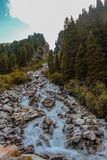 Small waterfall in the hohe tauern national park, austria royalty free stock photo