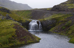 Small waterfall in Iceland. Small waterfall and river in Iceland Stock Images