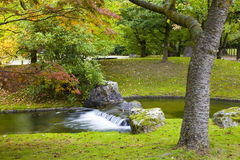 Small waterfall in Japanese Garden Royalty Free Stock Photography