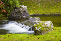 Small waterfall in Japanese Garden Royalty Free Stock Images