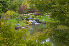 Small waterfall in Japanese Garden. Hasselt, Belgium Royalty Free Stock Photo