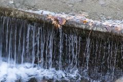 Small waterfall of Jardin De La Reina in Aranjuez. Madrid, Spain Stock Photos