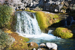 A small waterfall in the Khibiny. Russia Royalty Free Stock Images
