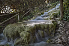 The small waterfall. Little River near the ruins of aqueducts and mills water Roman times Stock Photos