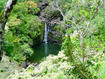 Small waterfall in Maui, Hawaii. In an area known as the Garden of Eden. a Tropical oasis Stock Photos