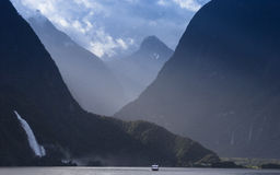 A small waterfall at Milford Sound Stock Image