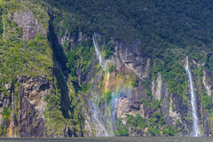 A small waterfall at Milford Sound Royalty Free Stock Photos