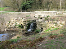 Small waterfall in Mote Park. A small Historic waterfall in Mote Park surrounded by old ragstone slabs Royalty Free Stock Photography