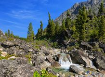 Small waterfall on a mountain river Royalty Free Stock Photography
