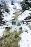 Small waterfall on mountain river at winter Stock Photos