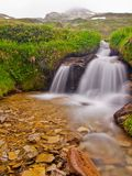 Small waterfall on mountain stream in summer meadow of Alps. Cold and rainy weather. Royalty Free Stock Photos