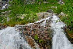 Small waterfall in a mountains Royalty Free Stock Photography
