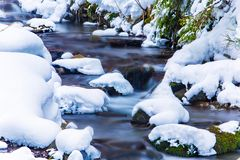 Small waterfall in mountains. Water cascades in cold weather royalty free stock images