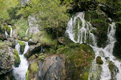 Small waterfall in Northern Italy Royalty Free Stock Images