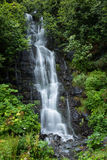 Small Waterfall Near Valdez Lake in Alaska Surrounded by Green T. Small river near Valdez lake in Alaska flows over steep rocky terrain. This 25ft high waterfall Royalty Free Stock Photography