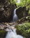 Small waterfall in North Ossetia stock images