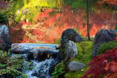 Small waterfall over rocks at the edge of a pond with autumn reflections in water Stock Photography