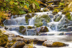 Small Waterfall in park with beautifull smooth water. Little wat Stock Image
