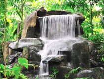Small waterfall in public tropical garden. Stock Photos