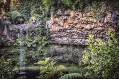 Small waterfall in puyehue national park stock image