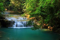 Small waterfall in rain forest, Thailand. Royalty Free Stock Image