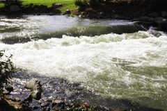 Some Water. A small waterfall on the river in downtown Caldwell, Idaho stock image