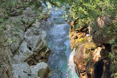Small Waterfall into Rockpool at Velika Korita, Slovenia Stock Photos
