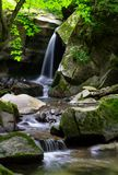 Small waterfall among the rocks. Beautiful in ancient woods Royalty Free Stock Images