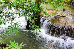 The small waterfall and rocks, Krabi, Thailand. Royalty Free Stock Photos